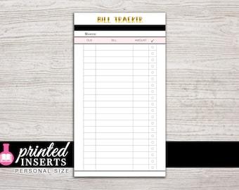 Printed Planner Inserts - Bill Tracker - Filofax Personal - Kikki K Medium - 3.75 x 6.75 in. - Design: Goldie