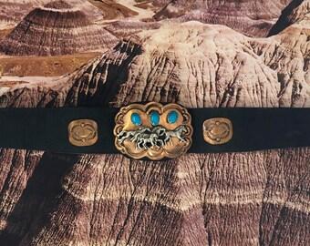 Copper & Turquoise Running Horses Leather Bracelet