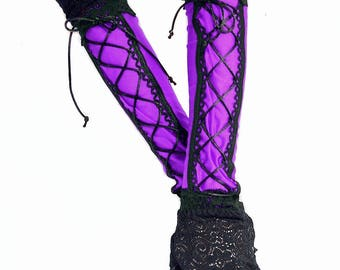 XX Long spandex lace up fingerless gloves lace cuffs violet black