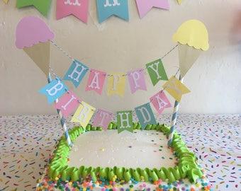 Cake banner. Ice cream party cake topper. Smash cake banner. Ice cream 1st birthday. Girl first birthday.