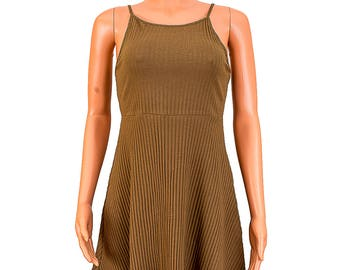 Sleeveless Spaghetti Strap Khaki Thigh Length Casual Dress - Brown