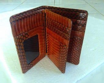 Handmade Snakeskin Leather Wallet. MEN'S BIFOLD WALLET. Brown Snakeskin Wallet. Free Shipping
