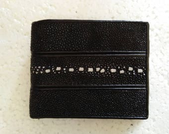 Genuine Black Stingray Leather Men's Bifold Wallet #03