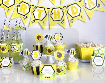 Printable Kid's Bumble Bee Birthday Party Decorations, Honey Bee Birthday Party, Printable Bee Party, Print Yourself, Instant Download