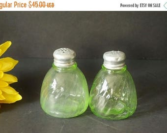 On Sale Green Swirl Depression Glass Salt & Pepper Shakers, Vaseline Glass