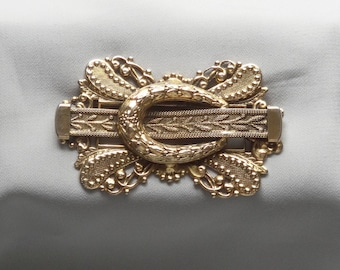 Vintage FREIRICH Antique Style Belt Buckle Gold Plated Brooch