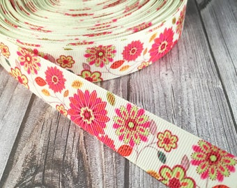 Flower ribbon - Mendala flower ribbon - Colorful ribbon - Pretty Grosgrain - Craft supplies - Hair bow DIY - Bow supply - Headband ribbon