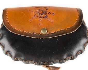 Vintage Black & Brown Leather Belt Bag, Festival Bag
