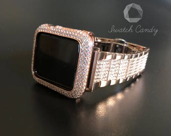 Apple Watch 38mm 42mm Rose Gold Sterling Silver Bezel Series 1,2,3 Micro Pave Lab Diamonds Metal Protection Rose Gold Rhinestone Band