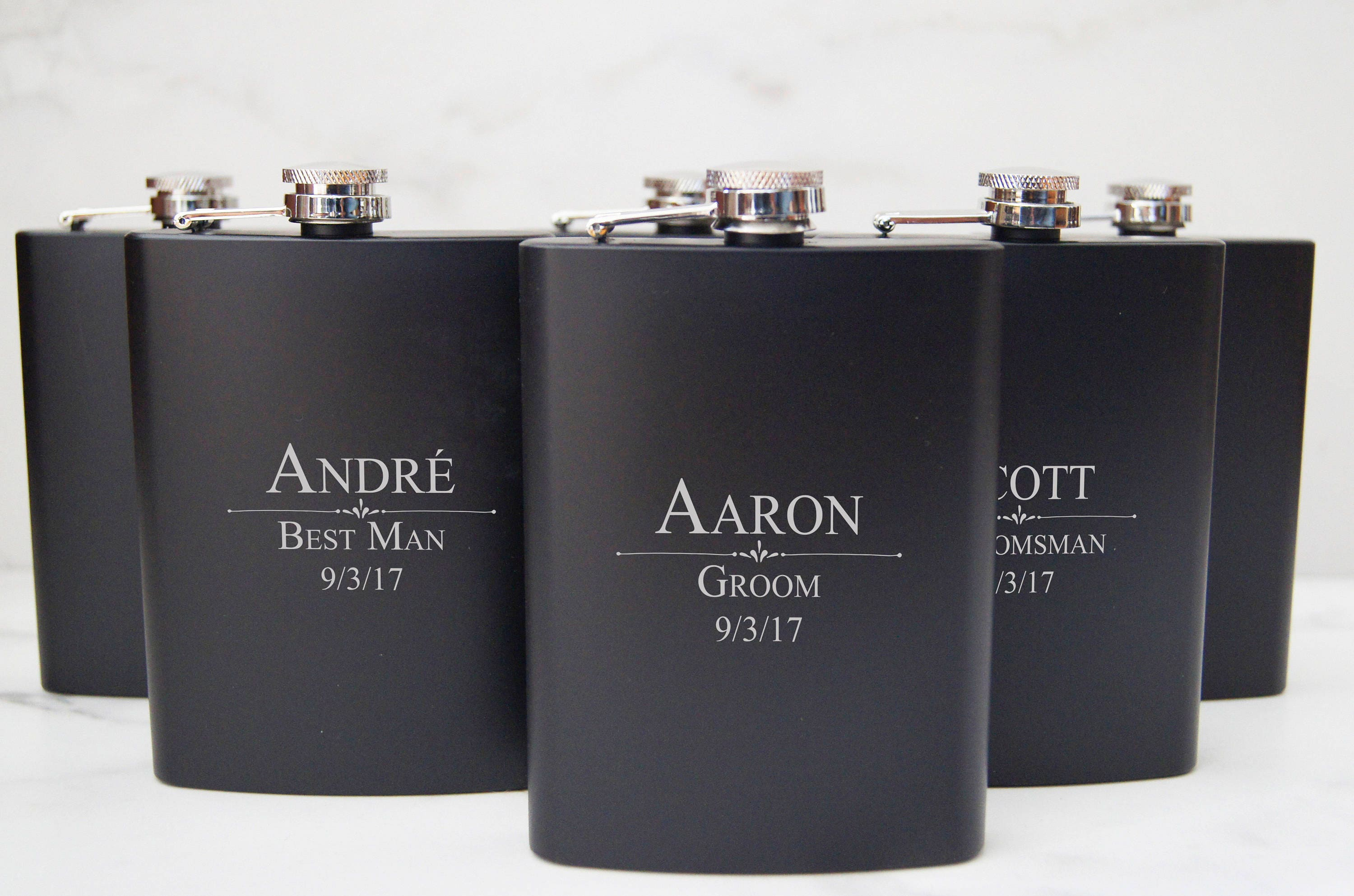 Personalized Set Of 8 Flasks Groomsmen Wedding Gift Best Man Customized Engraved