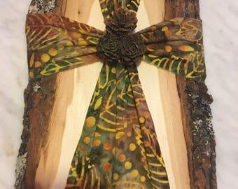 Green & Gold Batik Cross on Basswood
