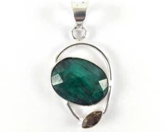 Raw Emerald 925 Sterling Silver Pendant