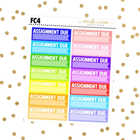 fc4      assignment due planner stickers  colorful from