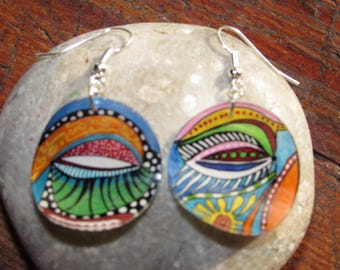 pretty earrings round embossed bright colors!