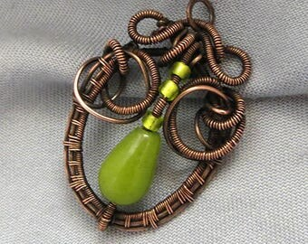 Necklace Wire wrapped green jadeit necklace gemstone necklace Solid Copper Jewelry Gothic Jewellery wire jewellery Celtic gift for her