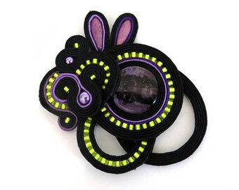 Soutache brooch, purple lime black brooch, Embroidered brooch, Soutache jewelry, Beaded brooch, Gift for her, soutache pin