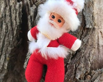 Vintage Natalino Santa Claus Figure, Fabric, Italy, Christmas Ornament, Holiday Décor