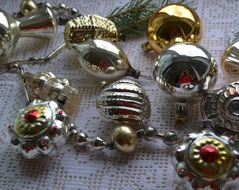 14 Vintage Christmas ornaments and Glass Garland, Soviet Christmas ornaments, glass ornaments, retro Christmas decor, rare glass ornament