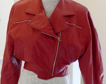 1980's Red Leather Biker Jacket. Rock Chick!