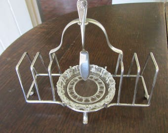 Pretty little vintage four slice silver plate toast rack with butter dish and butter knife, EPNS letter holder, breakfast rack, toast holder