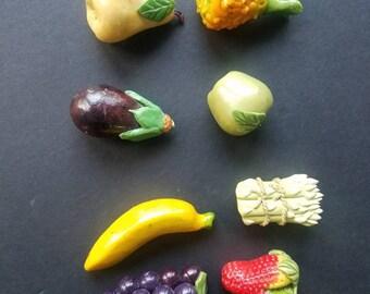 Vintage Fruit Vegetable Refrigerator Magnets, Kitchen Decor, Set of 8