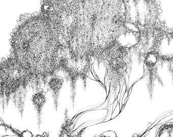 Original Ink drawing - Tree of circles