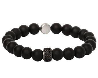 Pearl bracelet of natural stones for men + engraving