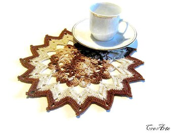 Brown and Ecrù Crochet Doily, Small Doily, Coasters, Table decorations, Round Doily, Centrino piccolo Marrone ed Ecrù