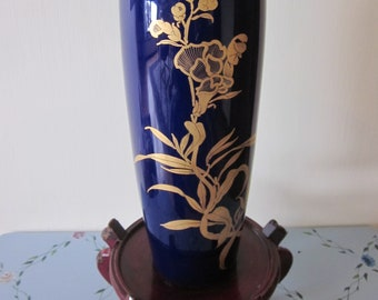 Japanese Cobalt Blue Bijutsu Toki Vase ( Old Blue Markings ) Outstanding Hand painted gold accent details VERY RARE VASE