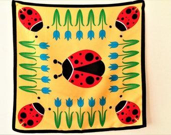 Ladybird Scarf, Yellow Ladybird Small Square Scarf, ladybird print, Polyester