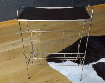 Magazine rack metal with bar handmade in France / Brown vintage formica and gold metal magazine rack