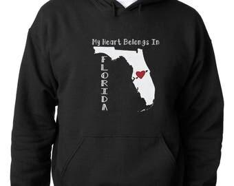 Sweatshirt My Heart Belongs in Florida Hoodie Florida State Home Sweats...
