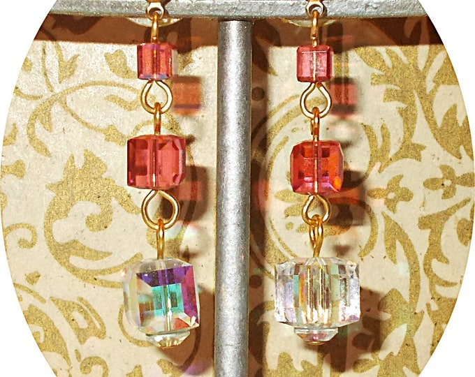 Boho Chic Handmade Orange Cube Clear Glass Bead Drop Dangle Stainless Steel Earrings
