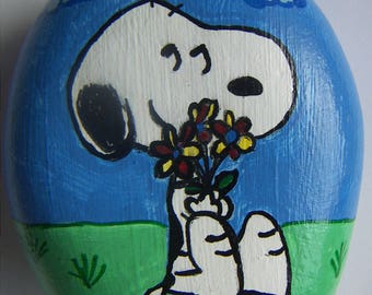 Snoopy With Flowers Reproduction Snoopy Peanuts Hand Painted Rock