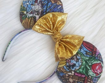 Beauty and the Beast stained glass ears