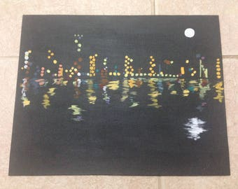 Night Skyscape Minimalist Painting