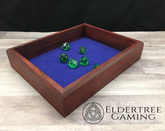 Premium Dice Tray - Table Top Sized - Padauk with Felt or Leather Rolling Surface - Eldertree Gaming