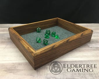Premium Dice Tray - Table Top Sized - Zebrawood with Felt or Leather Rolling Surface - Eldertree Gaming