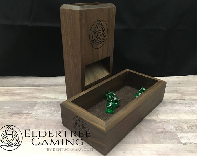 Featured listing image: Premium Dice Tower with dice storage - Walnut - Eldertree Gaming