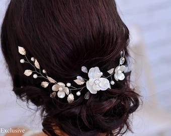 Bridal hair piece Wedding hair accessories Wedding hair vine Bridal headpiece wedding Bridal hairpiece Flower headpiece Pearl headpiece