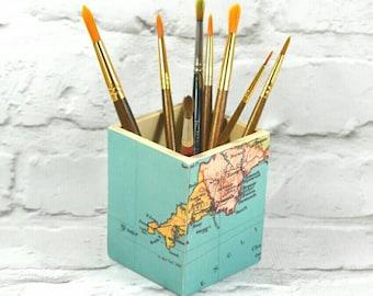 Custom Map Art Brush Pot - Choose your location!