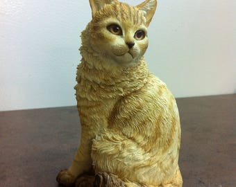 Vintage Cat Figurine - Ginger Cat Ornament - Gift for the Cat Lover