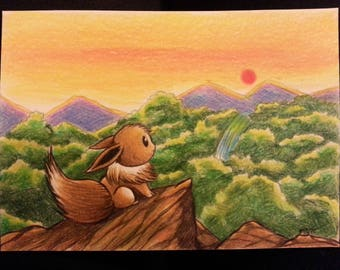 """Original drawing """"Eevee"""" with a landscape background colored pencil drawing in postcardsize"""