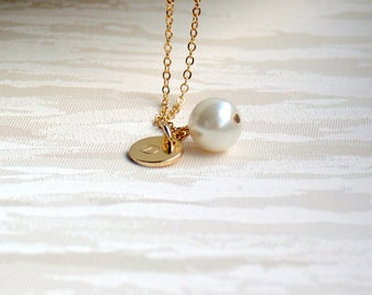 Set of five Personalized bridesmaid necklace Gold Pearl Necklace Initial necklace Bridesmaid necklace Bridesmaid gift Ivory Pearl Necklace
