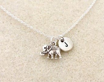 Personalized Lucky Elephant Necklace with letter elephant gifts friendship necklace gift lucky necklace bff necklace animal necklace