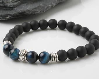 Blue tiger eyes bracelet, Onyx bracelet, Mala bracelet, yoga bracelet, Energy bracelet, Meditation bracelet, Gemstone Bracelet