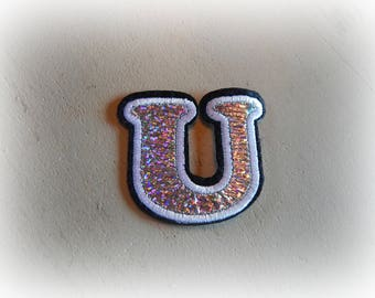 1 patch fusible patch / applique Letter U alphabet in silver, white and black tones
