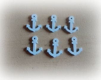 6 nautical themed wooden buttons / ink Navy - Blue - 24 * 19 mm