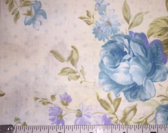 Zoey Christine by Eleanor Burns Soft Periwinkle Floral on Pale Polda-Dot