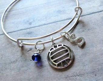 Volleyball Charm Bracelet, Expandable Bangle, Personalized, Gift, Initial Charm, Birthstone, Water Polo, Volleyball Gift, Team Gift